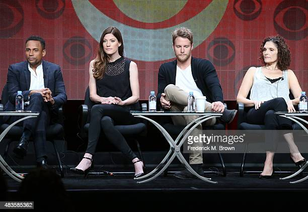 Actors Hill Harper Jennifer Carpenter Jake McDorman and Mary Elizabeth Mastrantonio speak onstage during the 'Limitless' panel discussion at the CBS...