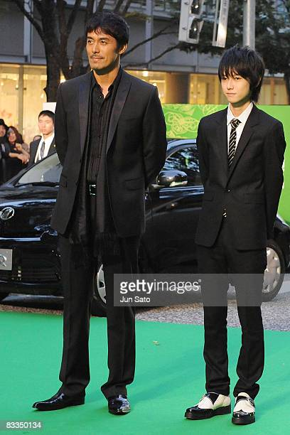 Actors Hiroshi Abe and Sota Honda attend The 21st Tokyo International Film Festival Opening Ceremony at Roppongi Hills on October 18, 2008 in Tokyo,...