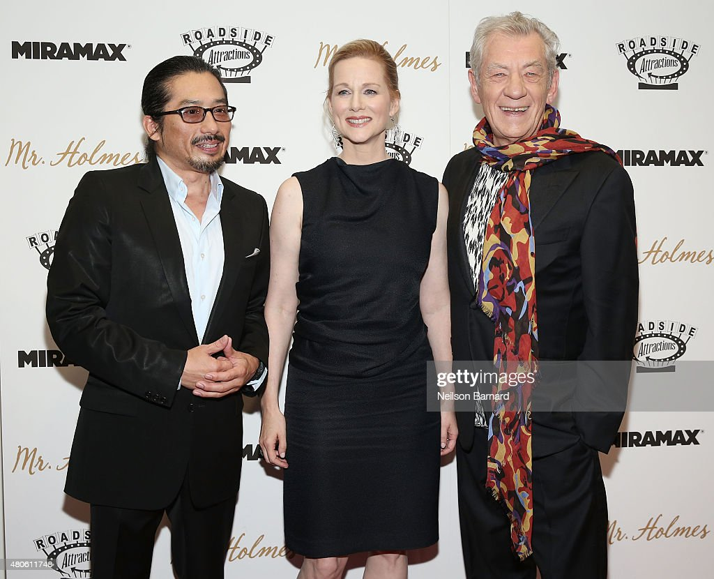 Actors Hiroyuki Sanada, Laura Linney and Ian McKellen attend the New York premiere of 'Mr. Holmes' at Museum of Modern Art on July 13, 2015 in New York City.