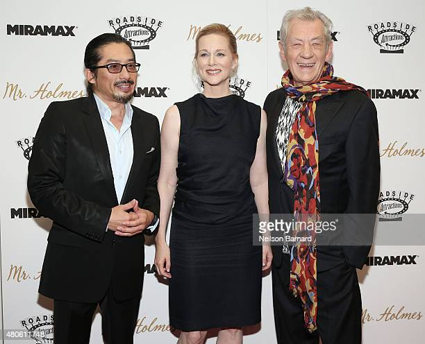 Actors Hiroyuki Sanada Laura Linney and Ian McKellen attend the New York premiere of Mr Holmes at Museum of Modern Art on July 13 2015 in New York...