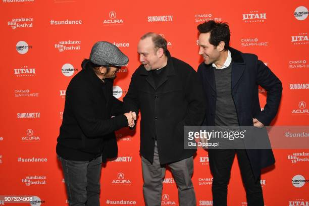 Actors Hiroyuki Sanada Paul Giamatti and Paul Rudd attend the 'The Catcher Was A Spy' Premiere during the 2018 Sundance Film Festival at The Marc...