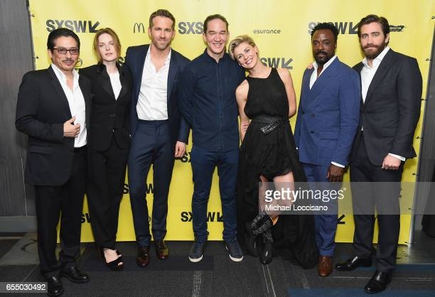 Actors Hiroyuki Sanada Rebecca Ferguson and Ryan Reynolds Director Daniel Espinosa and actors Olga Dihovichnaya Ariyon Bakare and Jake Gyllenhaal...