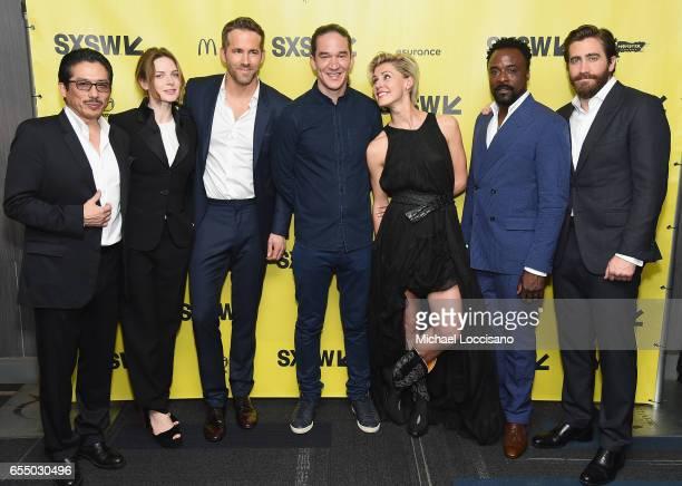 Actors Hiroyuki Sanada Rebecca Ferguson and Ryan Reynolds Director Daniel Espinosa and actors Olga Dihovichnaya Ariyon Bakare and Jake Gyllenhaal...
