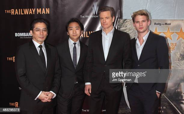 Actors Hiroyuki Sanada Tanroh Ishida Colin Firth and Jeremy Irvine attend the Railway Man premiere on April 7 2014 in New York City