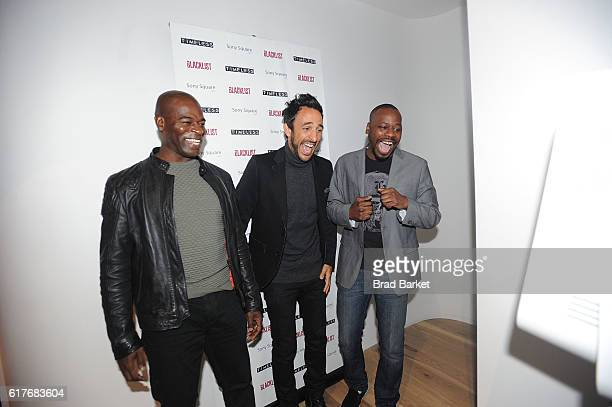 Actors Hisham Tawfiq Amir Arison and Malcolm Barrett attend 'The Blacklist' 'Timeless' Escape Game Press Preview at Sony Square on October 24 2016 in...