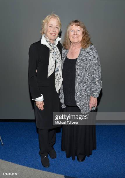 Actors Holland Taylor and Shirley Knight attend a screening of the film Elaine Stritch Shoot Me on March 5 2014 in Los Angeles California