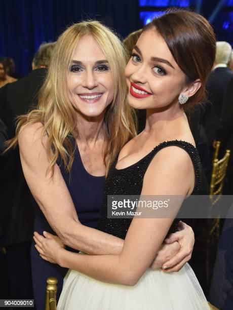 Actors Holly Hunter and Sarah Hyland attend The 23rd Annual Critics' Choice Awards at Barker Hangar on January 11 2018 in Santa Monica California
