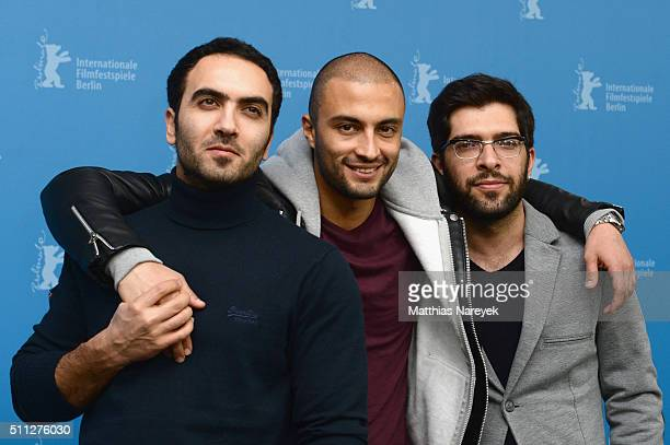 Actors Homayoun Ghanizadeh Amir Jadidi and Ehsan Goudarzi attend the 'A Dragon Arrives' photo call during the 66th Berlinale International Film...