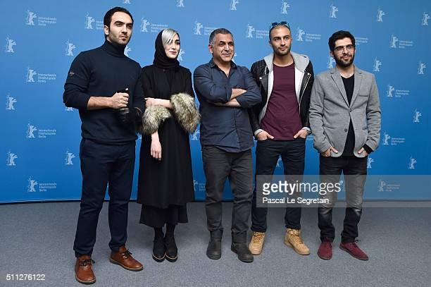 Actors Homayoun Ghanizadeh and Kiana Tajammol director Mani Haghighi actors Amir Jadidi and Ehsan Goudarzi attend the 'A Dragon Arrives' photo call...