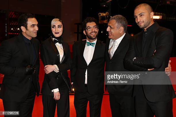 Actors Homayoun Ghanizadeh Kiana Tajammol Ehsan Goudarzi director Mani Haghighi and actor Amir Jadidi attend the 'A Dragon Arrives' premiere during...