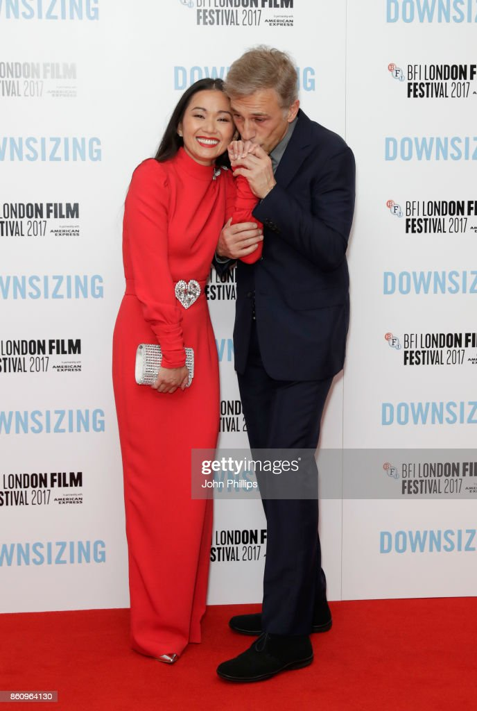 Actors Hong Chau and Christoph Waltz attend the BFI Patron's Gala and UK Premiere of 'Downsizing' during the 61st BFI London Film Festival at the Odeon Leicester Square on October 13, 2017 in London, England.