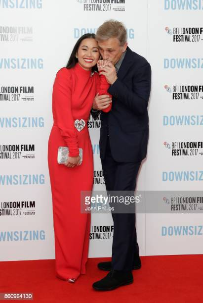 Actors Hong Chau and Christoph Waltz attend the BFI Patron's Gala and UK Premiere of 'Downsizing' during the 61st BFI London Film Festival at the...