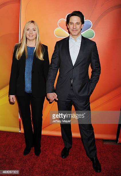 Actors Hope Davis and Scott Cohen attend the NBCUniversal 2015 Press Tour at the Langham Huntington Hotel on January 16 2015 in Pasadena California