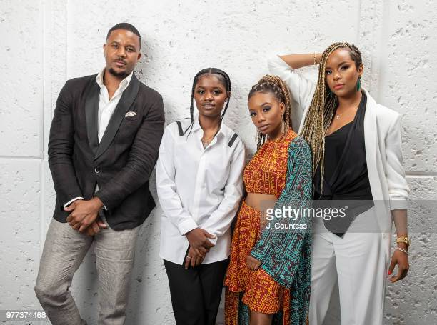 Actors Hosea Chanchez BreZ Imani Hakim and Latoya Luckett pose for a portrait at the 22nd Annual American Black Film Festival at the The Loews Miami...
