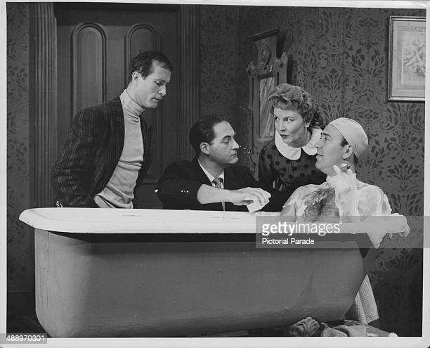 Actors Howard Morris Sid Caesar Janet Blair and Carl Reiner in a sketch from the television show 'Your Show of Shows' circa 19501954