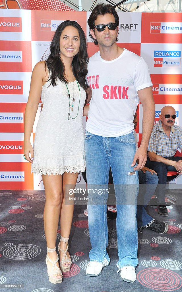 Actors Hrithik Roshan and Barbara Mori at a promotional event for the film Kites in Mumbai on May 22, 2010.