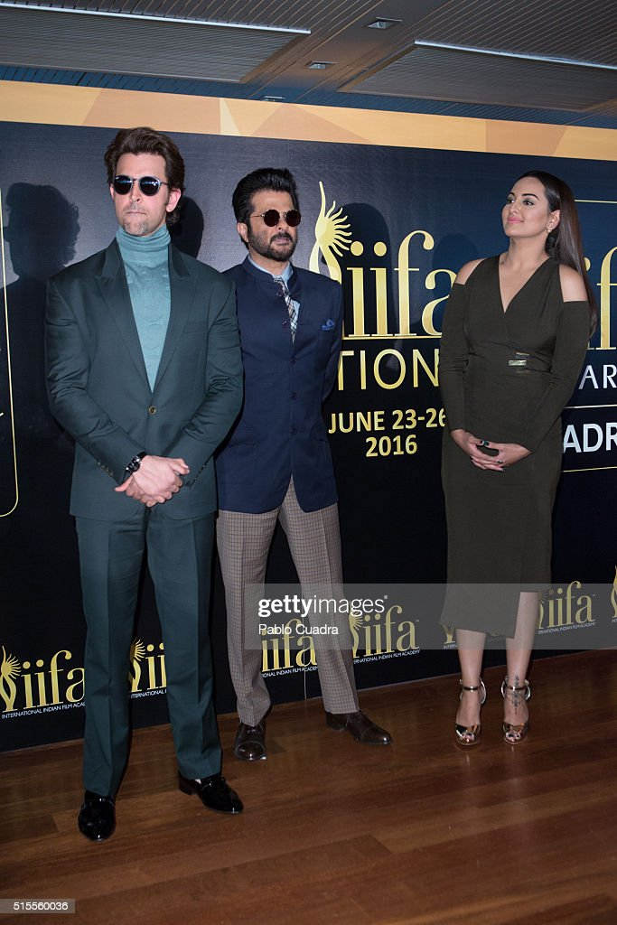 Actors Hrithik Roshan Anil Kapoor and Sonakshi Sinha attend the 17th International Indian Film Academy awards press conference at the Retiro Park on..