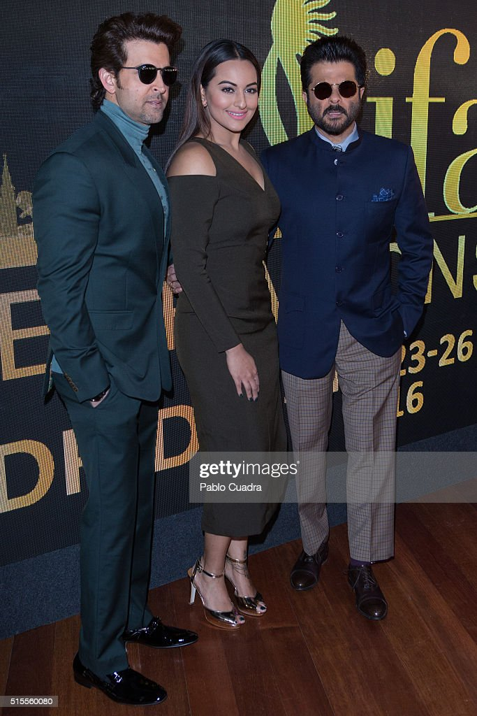 Actors Hrithik Roshan Sonakshi Sinha and Anil Kapoor attend the 17th International Indian Film Academy awards press conference at the Retiro Park on..