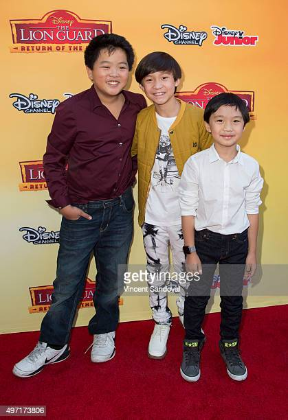 Actors Hudson Yang Forrest Wheeler and Ian Chen attend the premiere of Disney Channel's The Lion Guard Return Of The Roar at Walt Disney Studios on...