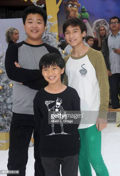 Actors Hudson Yang Ian Chen and Forrest Wheeler arrive for the Premiere Of Columbia Pictures' 'The Star' held at Regency Village Theatre on November...