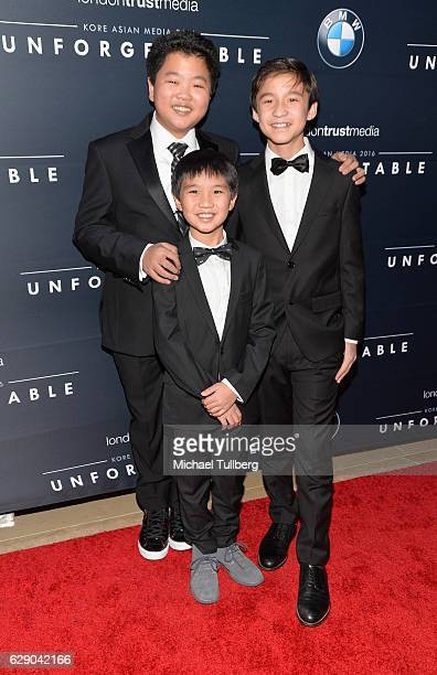 Actors Hudson Yang Ian Chen and Forrest Wheeler attend the 15th Annual Unforgettable Gala at The Beverly Hilton Hotel on December 10 2016 in Beverly...