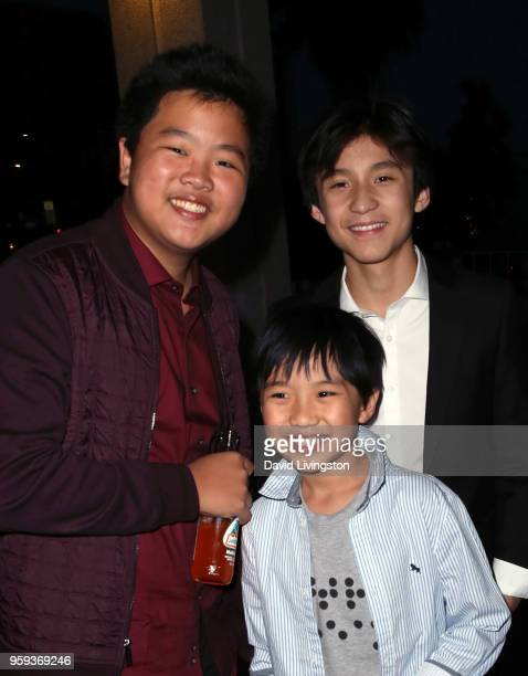Actors Hudson Yang Ian Chen and Forrest Wheeler attend the opening night of 'Soft Power' presented by the Center Theatre Group at the Ahmanson...