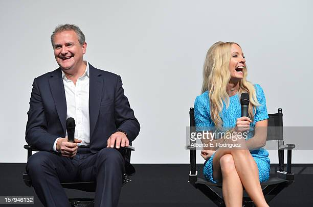Actors Hugh Bonneville and Joanne Froggatt share a laugh onstage during the QA session as part of The Hollywood Reporter screening of PBS...