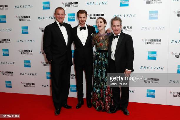 Actors Hugh Bonneville Andrew Garfield Claire Foy and director Tom Hollander attend the European Premiere of 'Breathe' on the opening night gala of...
