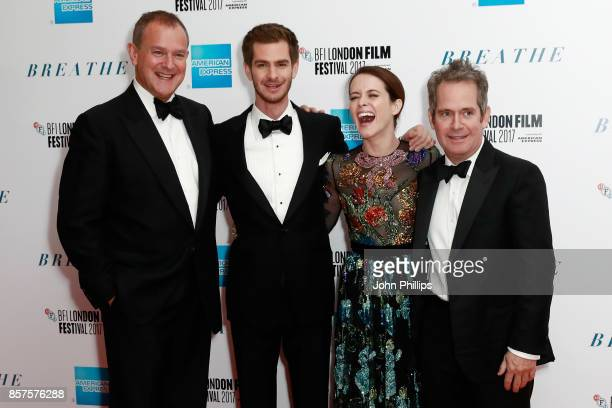 Actors Hugh Bonneville Andrew Garfield Claire Foy and Tom Hollander attend the European Premiere of 'Breathe' on the opening night gala of the 61st...
