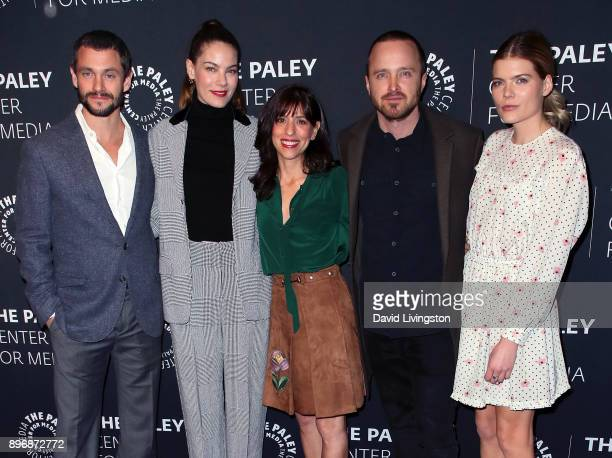 Actors Hugh Dancy and Michelle Monaghan executive producer Jessica Goldberg and actors Aaron Paul and Emma Greenwell attend Hulu's The Path Season 3...