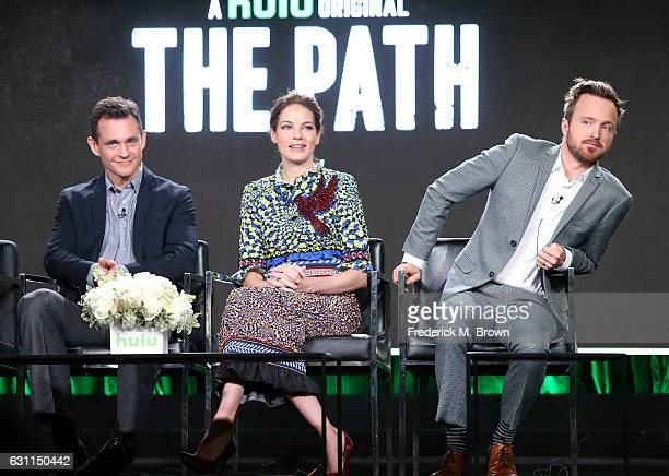 Actors Hugh Dancy Michelle Monaghan and Aaron Paul of Hulu's Original Series 'The Path' speak onstage during Hulu's 2017 Winter TCA Tour at Langham...