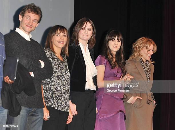 Actors Hugh DancyRashida Jones Emily Mortimer Zooey Deschanel and Elizabeth Banks attend My Idiot Brother Premiere at the Eccles Center Theatre...