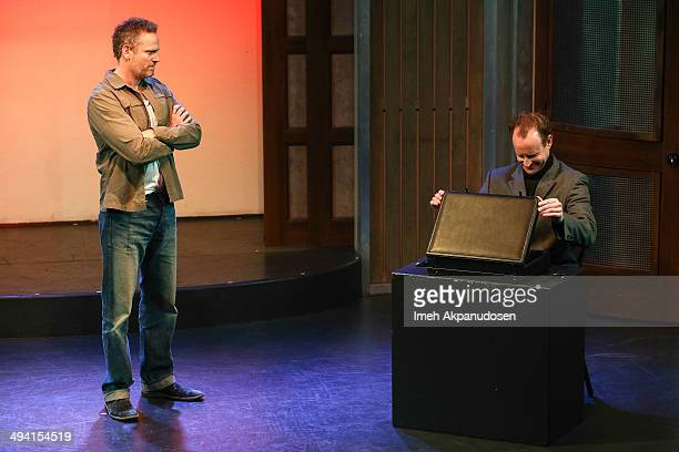 Actors Hugh Davidson and Larry Dorf perform onstage at The Groundlings Theatre's celebration of their 40th Anniversary with '2000's Decade Night' at...