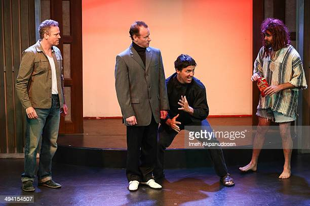 Actors Hugh Davidson, Larry Dorf, Nat Faxon and Will Forte perform onstage at The Groundlings Theatre's celebration of their 40th Anniversary with...