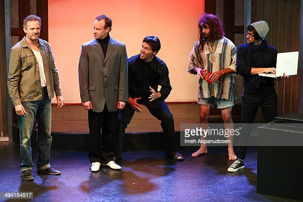 Actors Hugh Davidson, Larry Dorf, Nat Faxon, Will Forte and Jim Rash perform onstage at The Groundlings Theatre's celebration of their 40th...