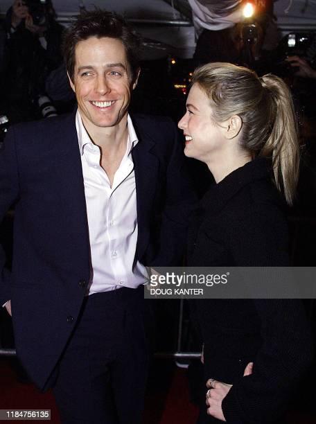 "Actors Hugh Grant and Renee Zellweger appear at the New York premier of the new movie ""Bridget Jones's Diary"" 02 April 2001. AFP PHOTO Doug KANTER"