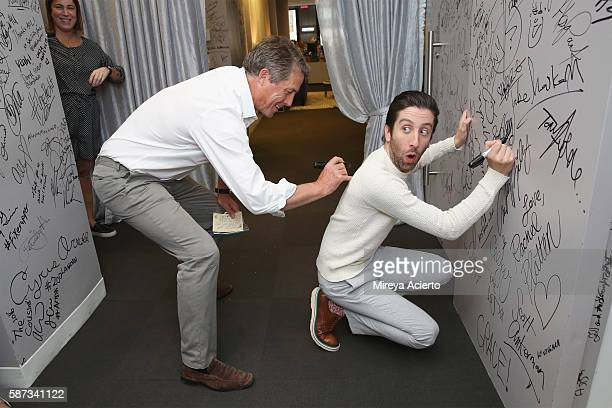 Actors Hugh Grant and Simon Helberg discuss their new film 'Florence Foster Jenkins' at AOL HQ on August 8 2016 in New York City