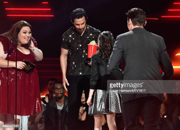 Actors Hugh Jackman and Dafne Keen winners of Best Duo for 'Logan' accept award from actors Chrissy Metz and Milo Ventimiglia onstage during the 2017...