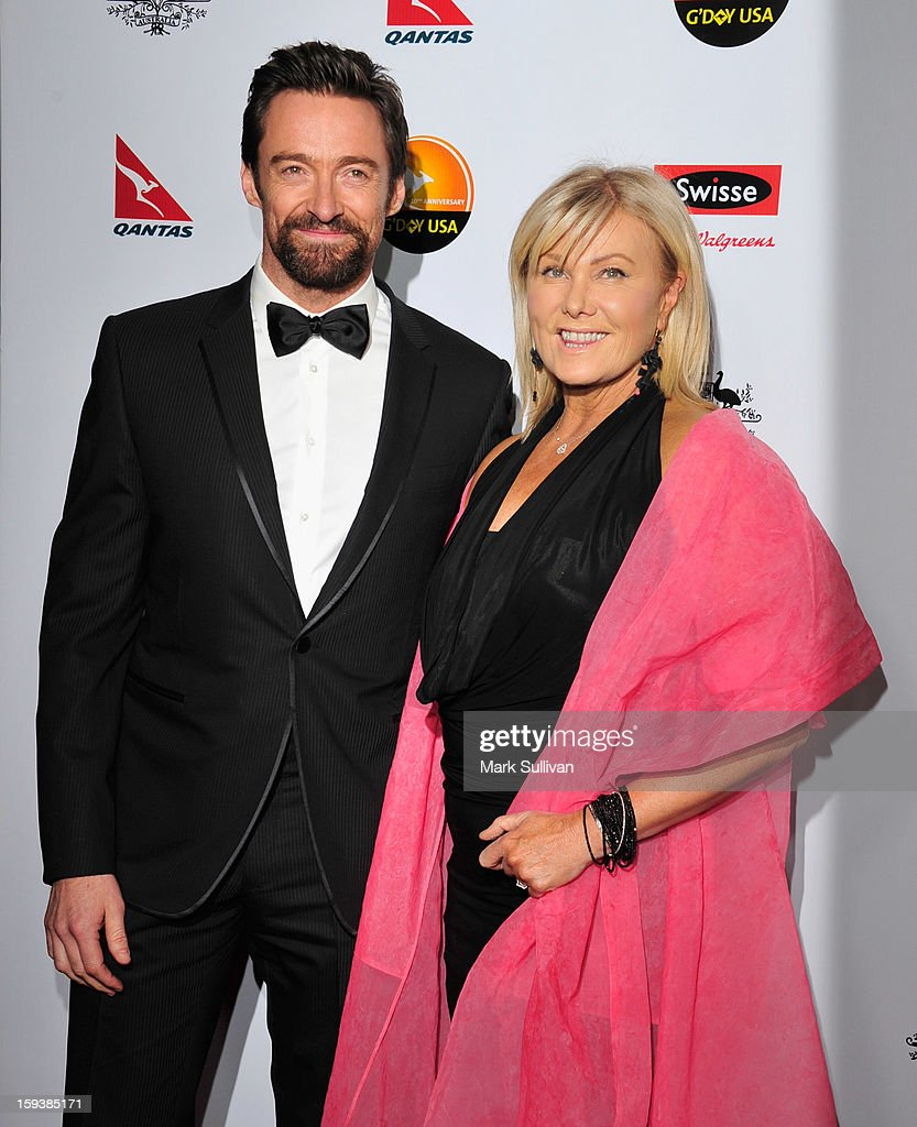 Actors Hugh Jackman and Deborra-Lee Furness arrive for the G'Day USA Black Tie Gala held at at the JW Marriot at LA Live on January 12, 2013 in Los Angeles, California.