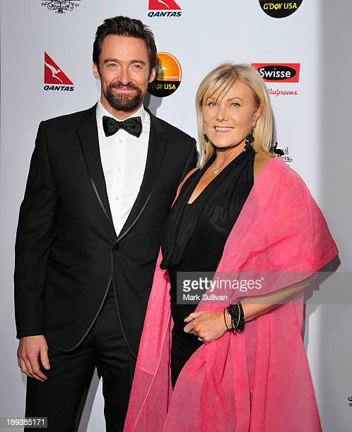 Actors Hugh Jackman and DeborraLee Furness arrive for the G'Day USA Black Tie Gala held at at the JW Marriot at LA Live on January 12 2013 in Los...