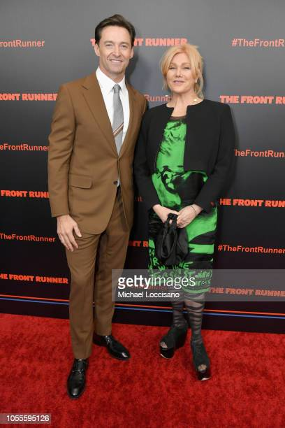 Actors Hugh Jackman and Deborralee Furness attend the New York premiere of The Front Runner at the Museum of Modern Art on October 30 2018 in New...