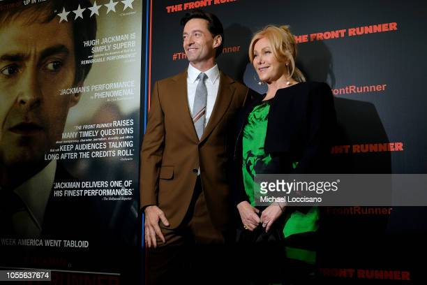 Actors Hugh Jackman and Deborralee Furness attend the New York premiere of 'The Front Runner' at the Museum of Modern Art on October 30 2018 inNew...