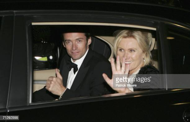Actors Hugh Jackman and his wife DeborraLee Furness leave the party after the wedding of actress Nicole Kidman and musician Keith Urban at St...