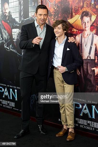 Actors Hugh Jackman and Levi Miller attend the 'Pan' New York Premiere at Ziegfeld Theater on October 4 2015 in New York City