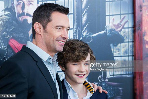 Actors Hugh Jackman and Levi Miller attend the 'Pan' New York Premiere at the Ziegfeld Theater on October 4 2015 in New York City