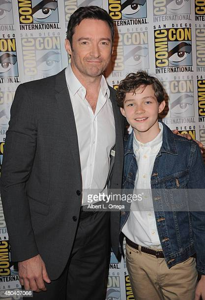 Actors Hugh Jackman and Levi Miller attend the Warner Bros 'Pan' presentation during ComicCon International 2015 at the San Diego Convention Center...
