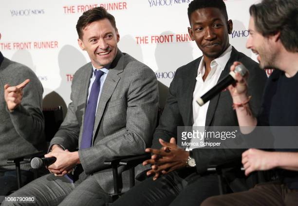 Actors Hugh Jackman and Mamoudou Athie and director and cowriter Jason Reitman speak during the panel discussion following the Yahoo News and Sony...