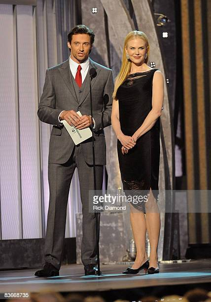 Actors Hugh Jackman and Nicole Kidman speak on stage during the 42nd Annual CMA Awards at the Sommet Center on November 12 2008 in Nashville Tennessee