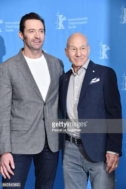 Actors Hugh Jackman and Patrick Stewart attend the 'Logan' photo call during the 67th Berlinale International Film Festival Berlin at Grand Hyatt...