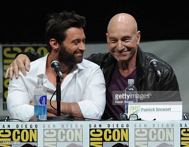 Actors Hugh Jackman and Patrick Stewart speak at the 20th Century Fox 'XMen Days of Future Past' panel during ComicCon International 2013 at San...